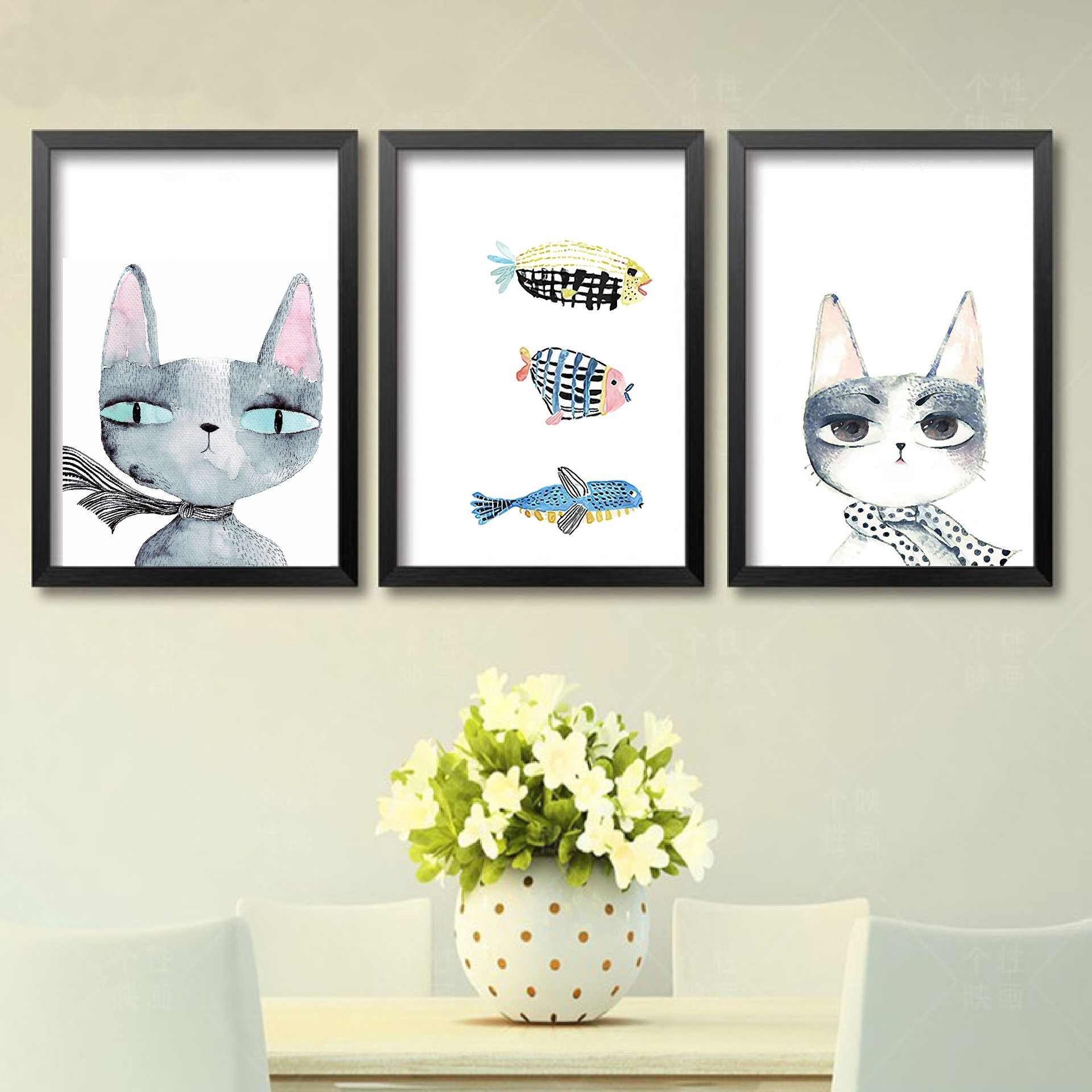Nordic Modern Art Canvas Painting Cat and Fish Posters and Prints Cuadros Decoracion Salon Garden Decor Quadro Paris Picture
