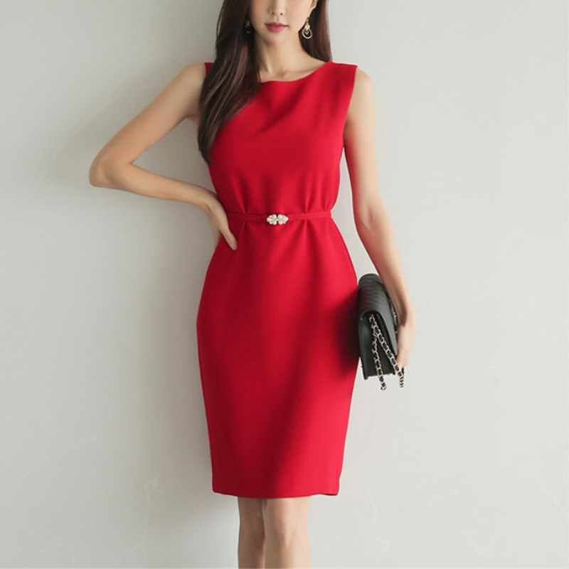 Women Dress 2019 Summer New Elegant Red Sleeveless Slim Formal Prom Party Dress  Bodycon Pencil Dress 0d0c4a09a