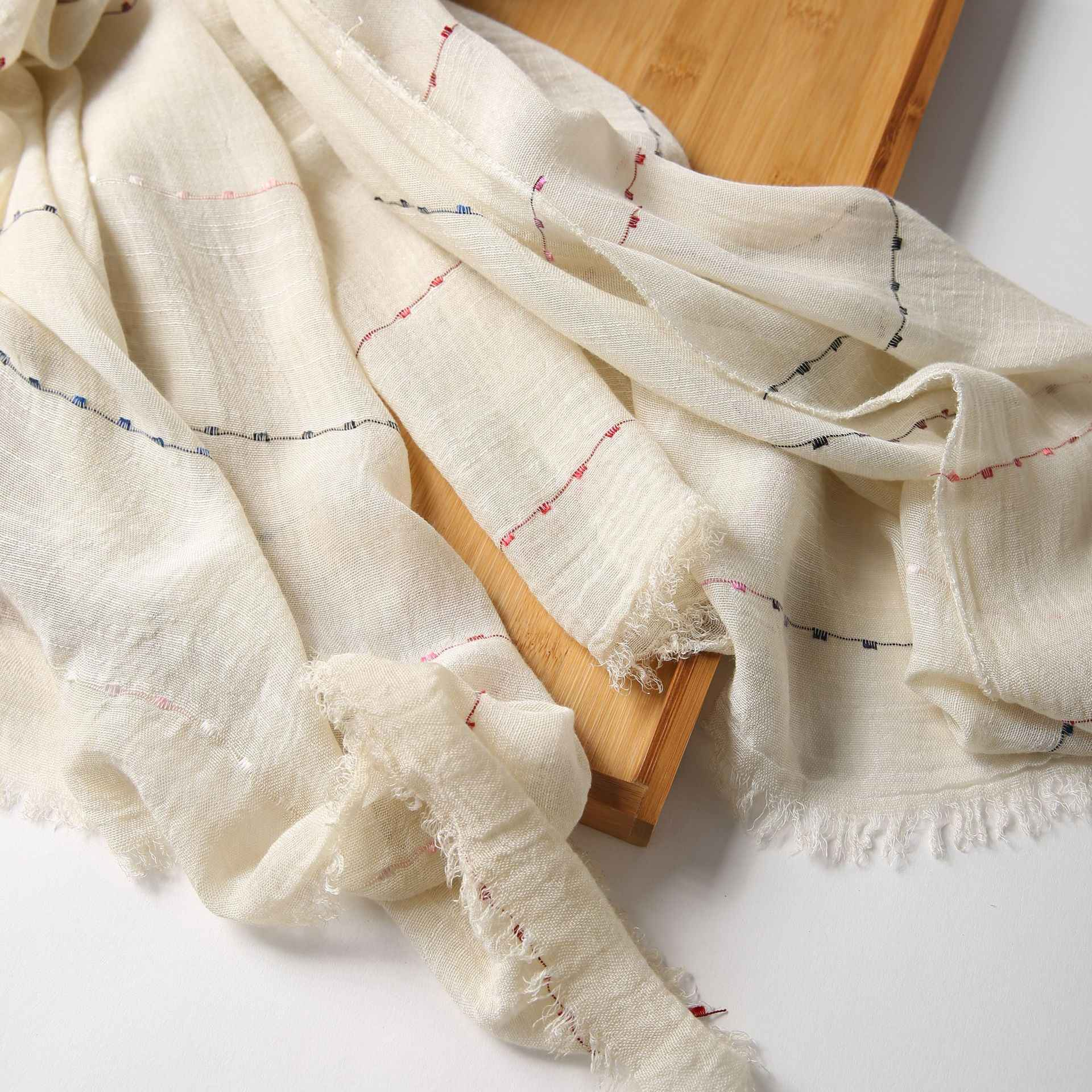 Корейский стиль Ретро Художественный весенне-осенний шарф шаль дикий женский шарф в японском стиле льняной Полосатый Солнечный длинный шарф