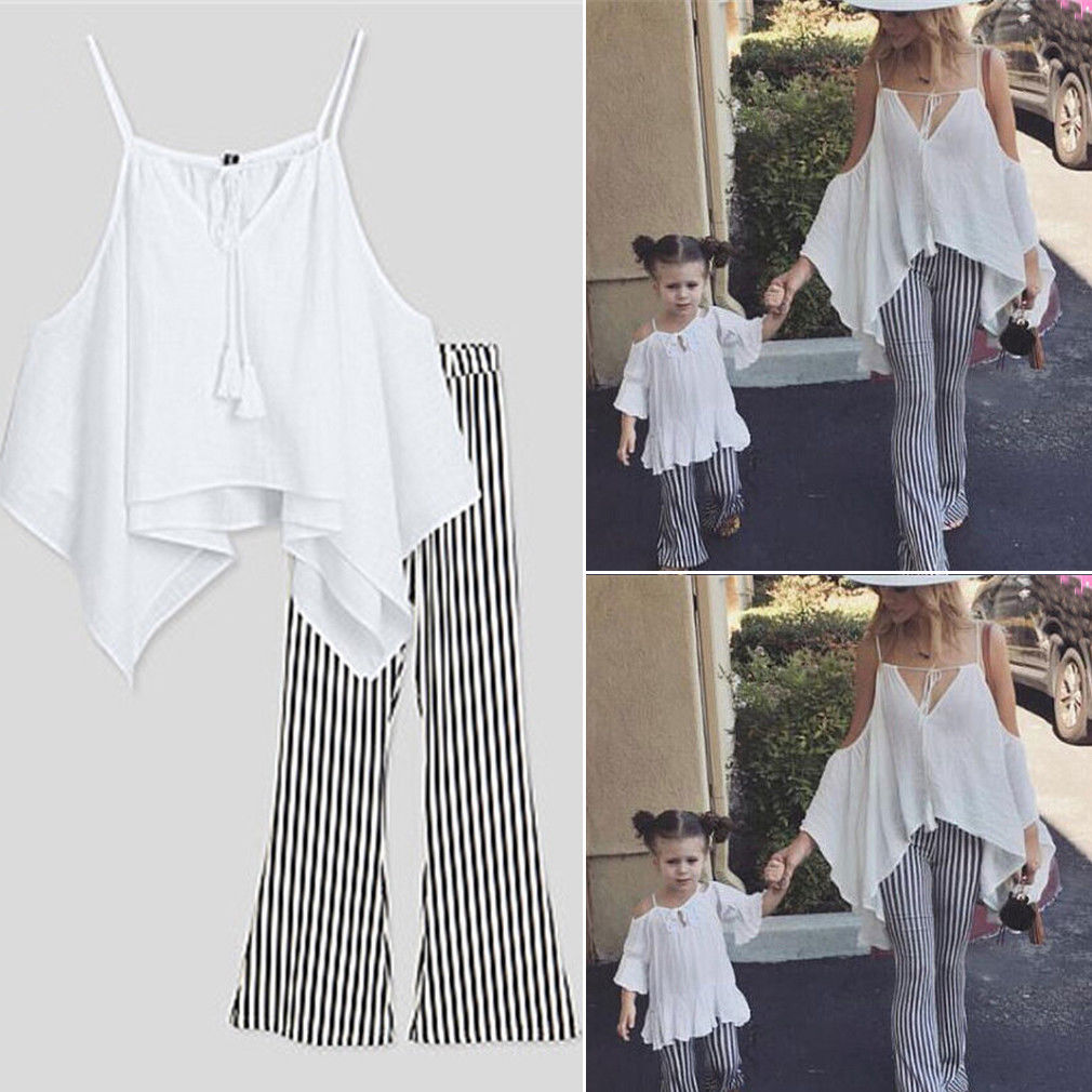 Women Mom Daughter Girl Family Matching Clothes Summer Off Shoulder Blouse Tops + Flare Long Pant Trousers Outfits