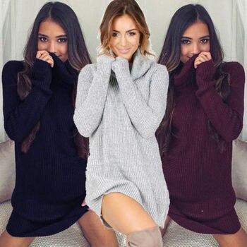여자 스웨터 드레스 겨울 카울 넥 느슨한 긴 소매 오버 사이즈 점퍼 셔츠 탑 드레스 플러스 사이즈 2018 뉴 가을 풀오버