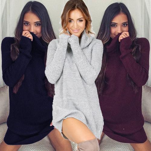 9e1d94595fe Womens Sweater Dress Winter Cowl Neck Loose Long Sleeve Oversize Jumper  Shirt Tops Dress Plus Size