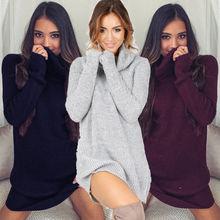 Womens Sweater Dress Winter Cowl Neck Loose Long Sleeve Oversize Jumper Shirt Tops Dress Plus Size 2018 New Autumn Pullover