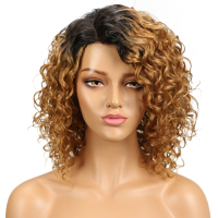 Sleek Curly Human Hair Wig Brazilian Curly Bob Wig Remy Human Hair Wigs For Black Women Ombre Part Lace Wig Free Shipping