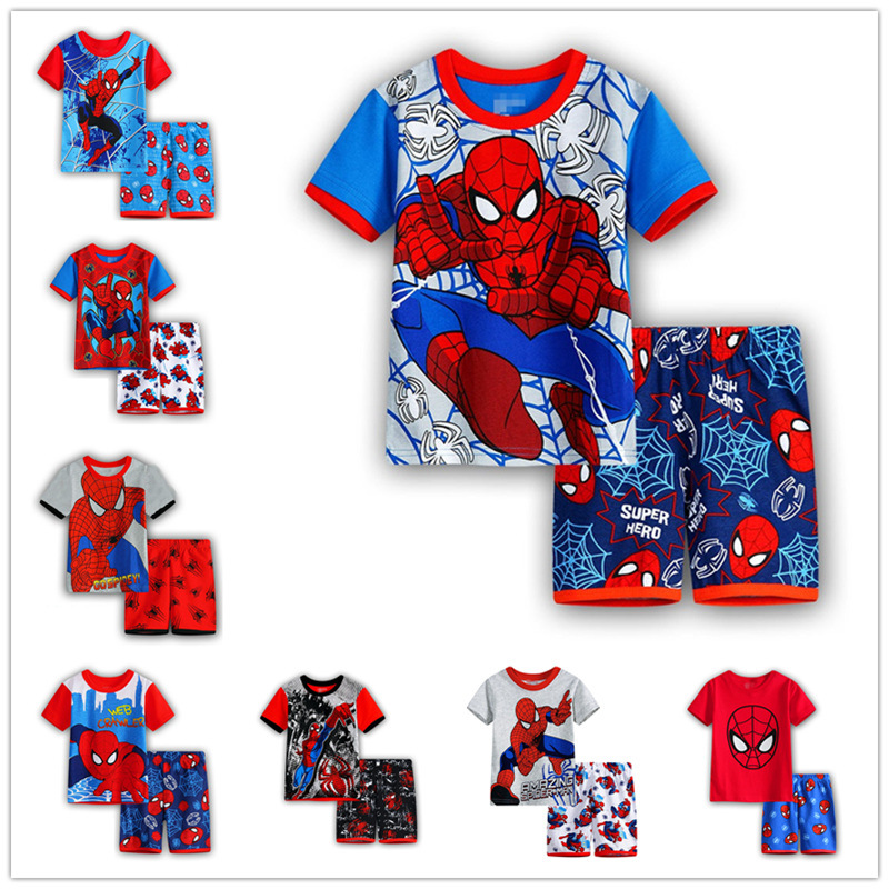 Neue Sommer Baumwolle Spider-mann Pyjamas Set Kinder Kleidung Set Baby Junge 2-7years Kurzarm Anzug Kinder Cartoon-muster Pyjamas