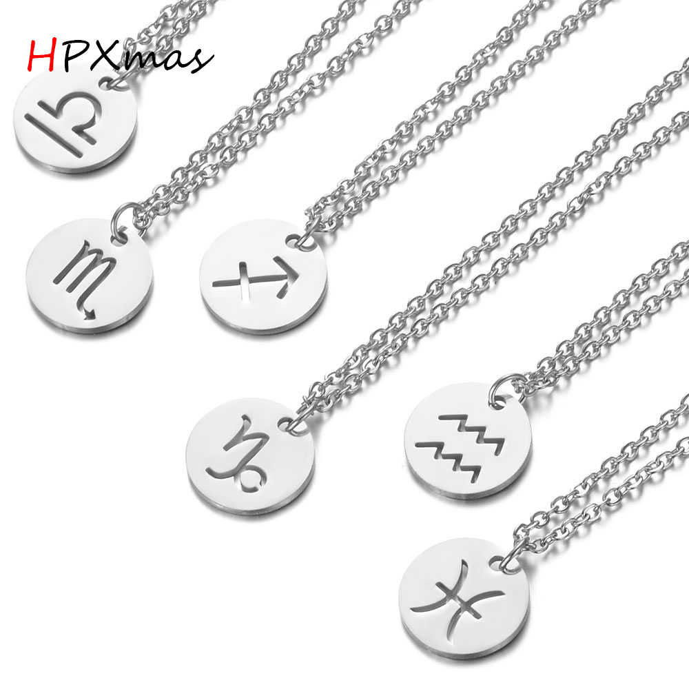 HPXmas אופנה עגול מטבע טיטניום פלדה 12 קונסטליישן מזל בתולה אריה בתולה תליון שרשרת נשים גברים תכשיטי C42