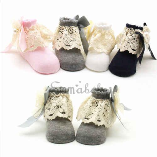 2019 calcetines de encaje para bebés recién nacidos niñas lindas para niños pequeños calcetines de tobillo de mezcla de algodón de punto español moda Otoño nueva venta