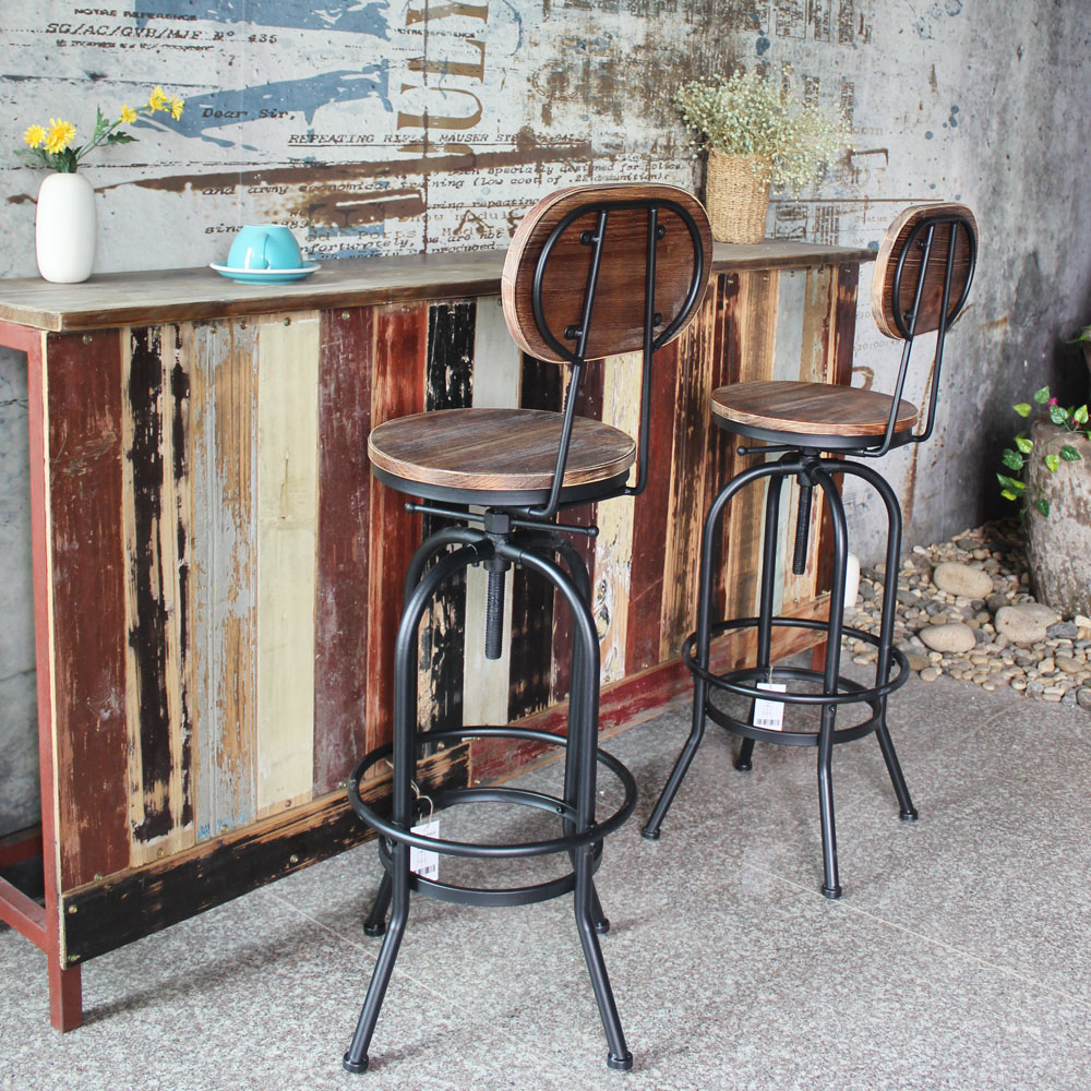 IKAYAA Juego de 2 Taburetes de Bar Estilo Industrial Altura Ajustable Sillas de Comedor