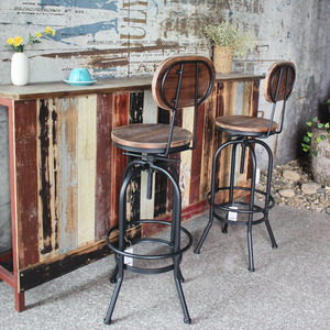 Image 4 - IKayaa Stile Industriale Sedie Da Bar Sgabello Regolabile in Altezza della Cucina Della Parte Girevole Sedia Da Pranzo Pinewood Top + del Metallo Con Schienale