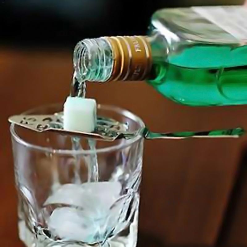 Edelstahl Absinth Löffel Cocktail Bar Utensilien Bitteren Scoop Glas Tasse Löffel Drink Filter Löffel Bar Wein Drink 40