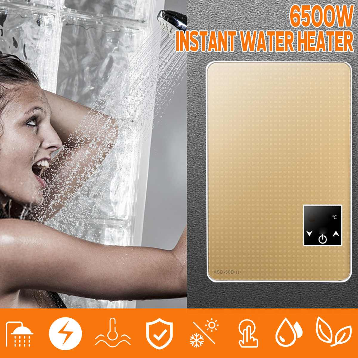 6500W Tankless Instant Electric Hot Water Heater Boiler Bath Shower Nozzle Set Safe Intelligent Large-screen Digital Display6500W Tankless Instant Electric Hot Water Heater Boiler Bath Shower Nozzle Set Safe Intelligent Large-screen Digital Display