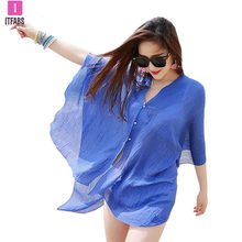 2019 Hot sale soild v-neck New Summer Sexy Women Cover Up Kaftan Chiffon Swim Wear Beach Wear Bikinis Sundress Beach Dress(China)