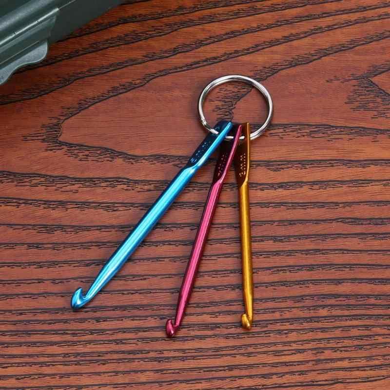 Aguja de punto de aluminio Crochet gancho aguja colorido llavero anillo DIY ropa herramientas de costura accesorios Venta caliente 3 piezas nuevo caliente