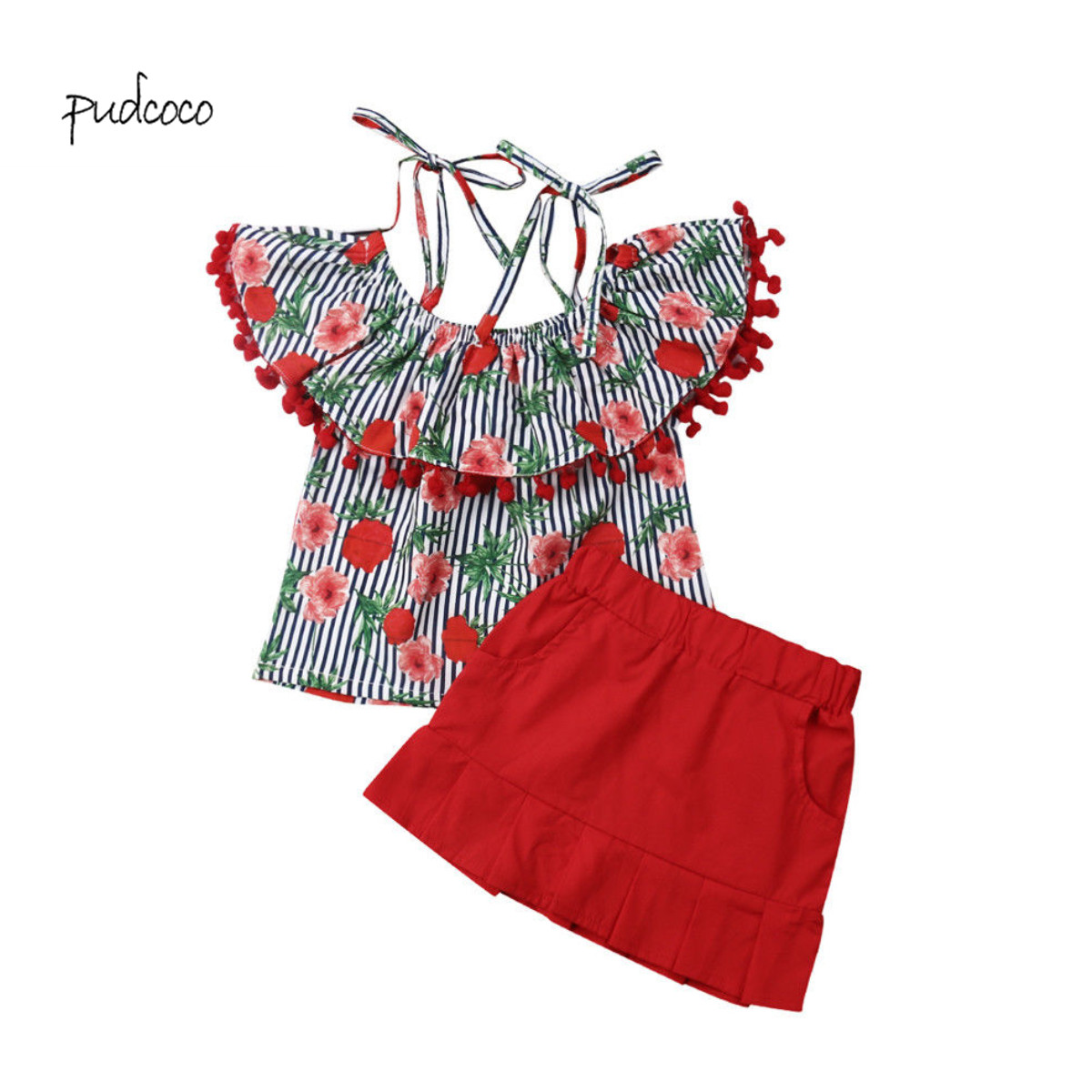 Pudcoco New Brand Kids Baby Girl Lace Tops Flower T-shirt Skirts 2pcs Outfits Set