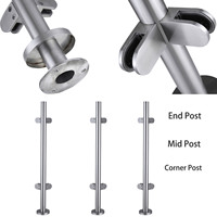 Panana 304 Stainless Steel Glass Post Balustrade Posts Grade Glass Clamps Rubbers End Caps / Mid Post/Corner Post Garden Fencing