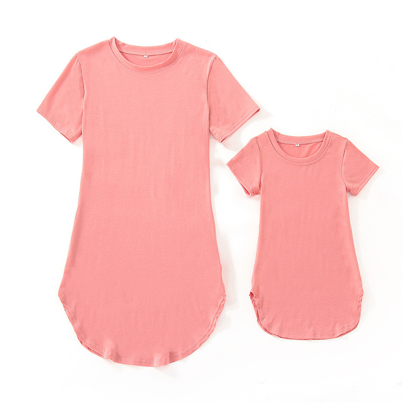 Mother Kids Mom and daughter dress mother daughter t shirts dresses Short sleeve baby girl sister family look matching clothes