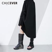 CHICEVER Black Women's Skirt Ruffles Fold High Elastic Waist Irregular Hem 2018 Summer Spring Midi Skirts Womens Korean Fashion