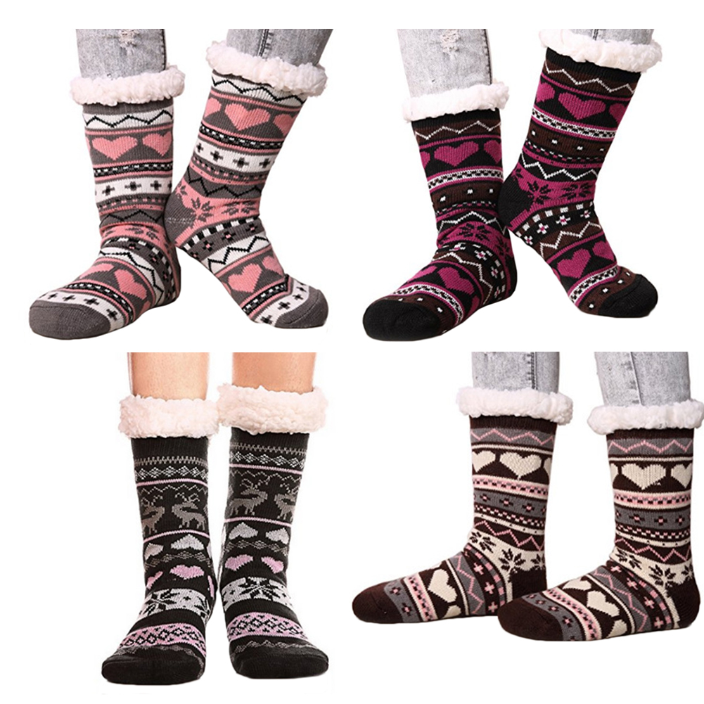 Womens Warm Cozy Fuzzy Fleece Lined Winter Christmas Gift Non-skid Slipper Socks