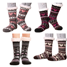 Womens Winter Socks Soft Warm Cozy Fuzzy Fleece-lined Xmas Thick Gift With Gripper Slipper Ladies Fashion