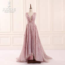 Jusere Stock Promotion V Neck Heavy Beaded A Line Evening Dresses Floor Length Prom Party Celebrity Gown