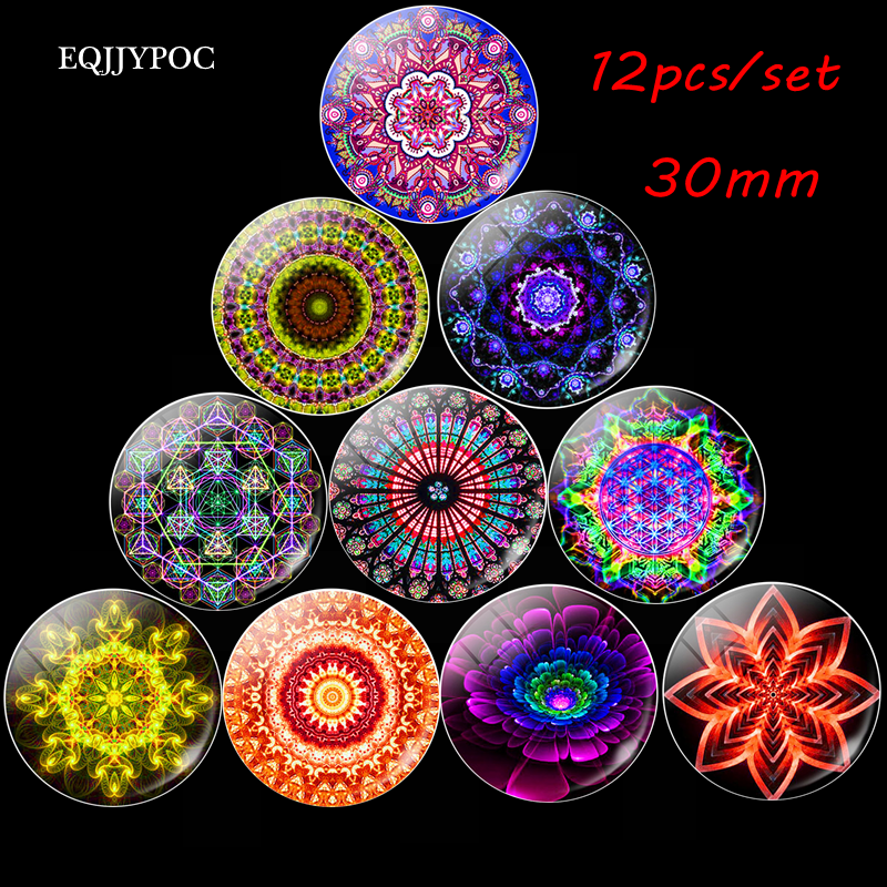 Retro Mandala flower Fridge Magnets datura Round Glass Magnetic Refrigerator Stickers Note Holder Home Accessories 10pcs 30mm