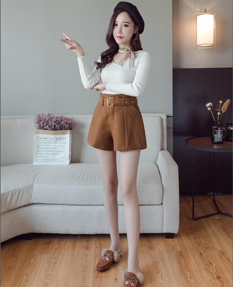 Casual Solid Zipper Womens Woolen Bootcut Short Pants Loose Pockets Sashes Wool Shorts New Thick Black Wide Leg Shorts Шорты
