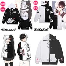 Danganronpa Monokuma Cosplay Kostuum Mannen Vrouwen Zwart en Witte Beer Jas Sweatshirt Japanse Anime Hoodie