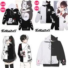 Danganronpa monokuma fantasia cosplay, jaqueta preta e branca de urso, moletom de anime japonês