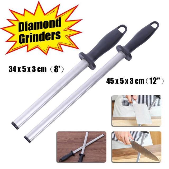"8""/12''Oval Knife Sharpener Chef Knife Sharpener Rod Diamond Sharpening Stick Honing Steel Kitchen Stainless Steel Knives Gadget"