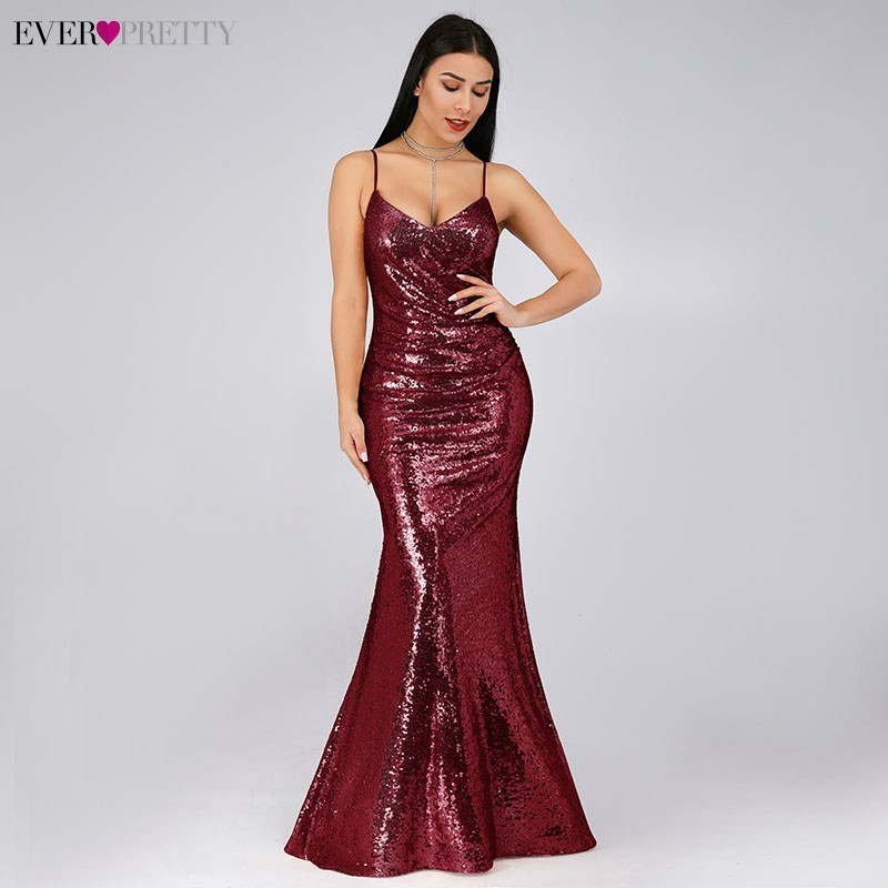 Robe De Soiree New Ever Pretty EP07339 Sexy V-Neck Spaghetti Straps Sequins Sleeveless   Evening     Dresses   2019 Long Party Gowns