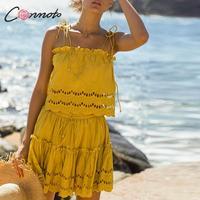 Conmoto Elegant Embroidery Lace White Sexy Women Dress Suits Yellow Beach Spaghetti Strap Feminino Mini Party Dress Vestidos