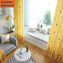 Modern Simple Lemon Yellow Children Triangular Geometric Curtains For Living Room Fashion Fresh Cotton and Lien Fabric