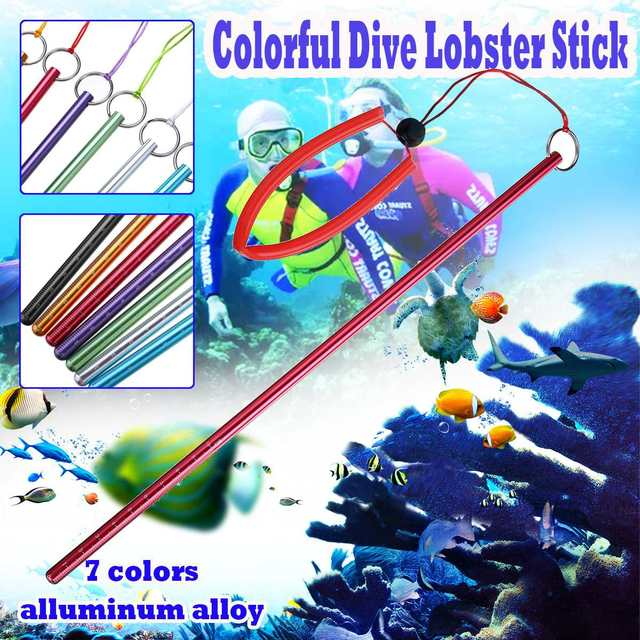 Scuba Diving Colorful Aluminium Alloy Dive Lobster Stick Pointer Rod With Hand Rope Lanyard Underwater Shaker Noise Maker