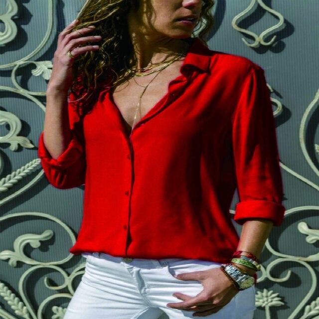 Lossky Women Tops Blouses 2018 Autumn Elegant Long Sleeve Solid V-Neck Chiffon Blouse Female Work Wear Shirts Blouse Plus Size   2