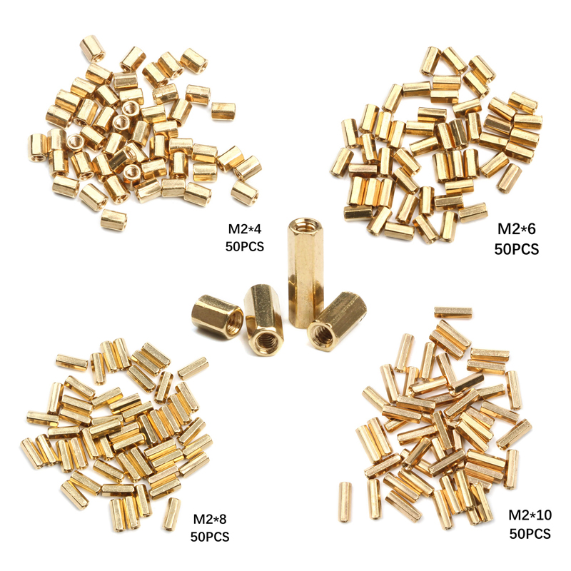 50Pcs M2 Hex Nut Spacing Screw Brass Threaded Pillar PCB Motherboard Standoff Spacer Kit 4mm/6mm/8mm/10mm50Pcs M2 Hex Nut Spacing Screw Brass Threaded Pillar PCB Motherboard Standoff Spacer Kit 4mm/6mm/8mm/10mm