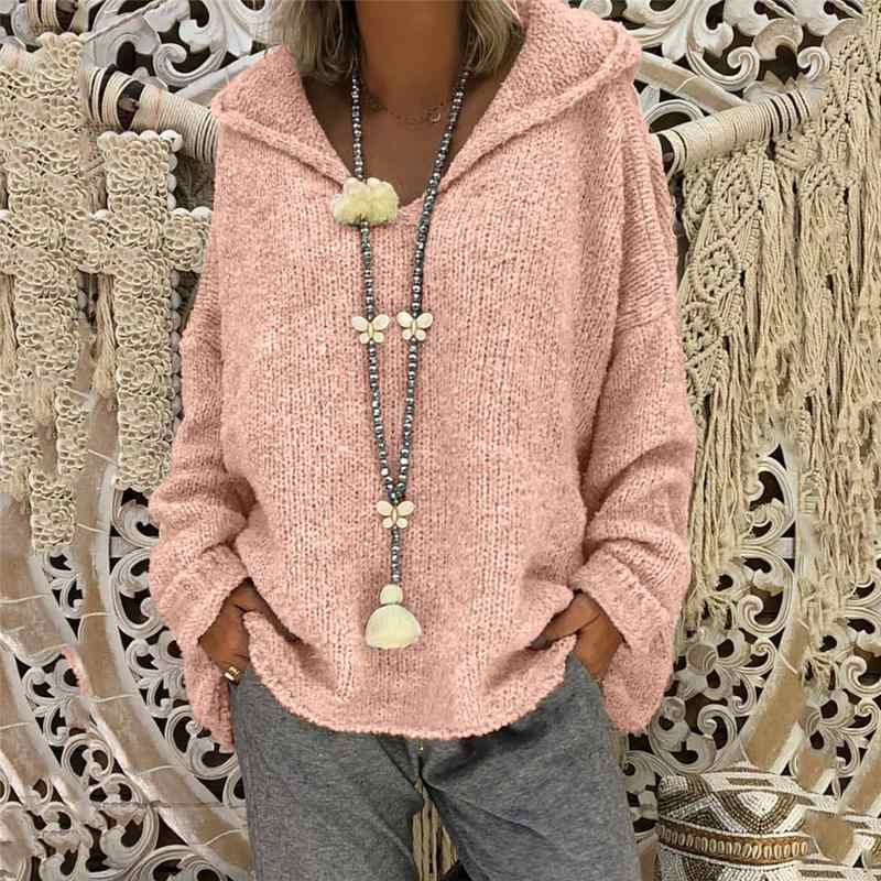 d1fd520de45 3XL Plus Size Autumn Winter Knitting Casual Long Sleeve Solid Colors Sweater  Loose Female Pink Sweaters