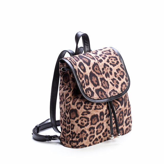 Wholesale Fashion leather Women Leopard Print Backpack School Daily custom  Backpack for women girls outdoor drawstring