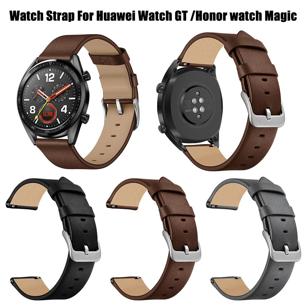 Image 3 - 22mm Fashion Replacement Needle Pattern Leather Strap Wristband For Watch GT / Honor Watch Magic Black Brown Gray New-in Smart Accessories from Consumer Electronics