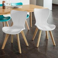 SoBuy FST62, Set of 2 Dining Chairs Kitchen Dining Office Lounge Room Chairs, Plastic Seat Backrest with Beech Wood Legs