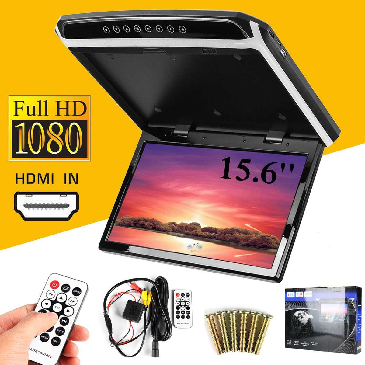 15.6 hd tela larga carro dvd player hdmi teto do carro flip down monitor telhado montagem jogador 1920*1080 - 3