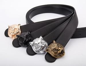 Image 1 - Ремень с головой тигра мужской, кожаный пояс в Западном ковбойском стиле, металлическая пряжка, подарок для мужчин