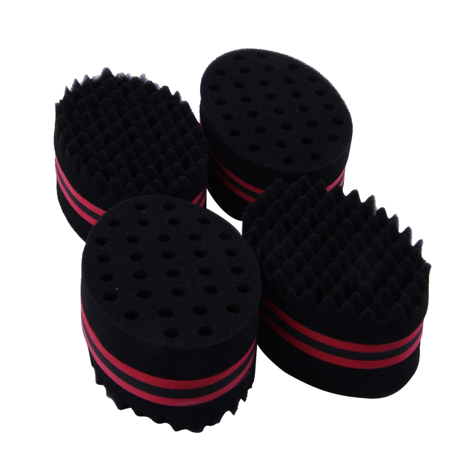 Top Sale Set of 4 Hair Brush Sponge Twist Wave Barber Tool For Dreads Afro Locs Twist Curl Black red|Curling Irons| |  - title=