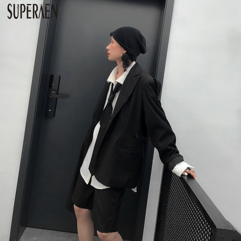 SuperAen 2019 Spring New Suit Jacket Women Solid Color Wild Fashion Casual Ladies Jacket Irregular Long