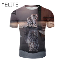 YELITE 3d Cat Animal Casual T-shirt And Tiger Printing Men T Shirt Funny Cute Kitten Summer O-neck Short Sleeve Tops