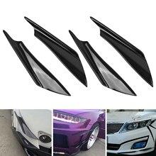 4pcs Universal Front Bumper Lip Splitter Fin Body Spoiler Canards Black Trim NEW