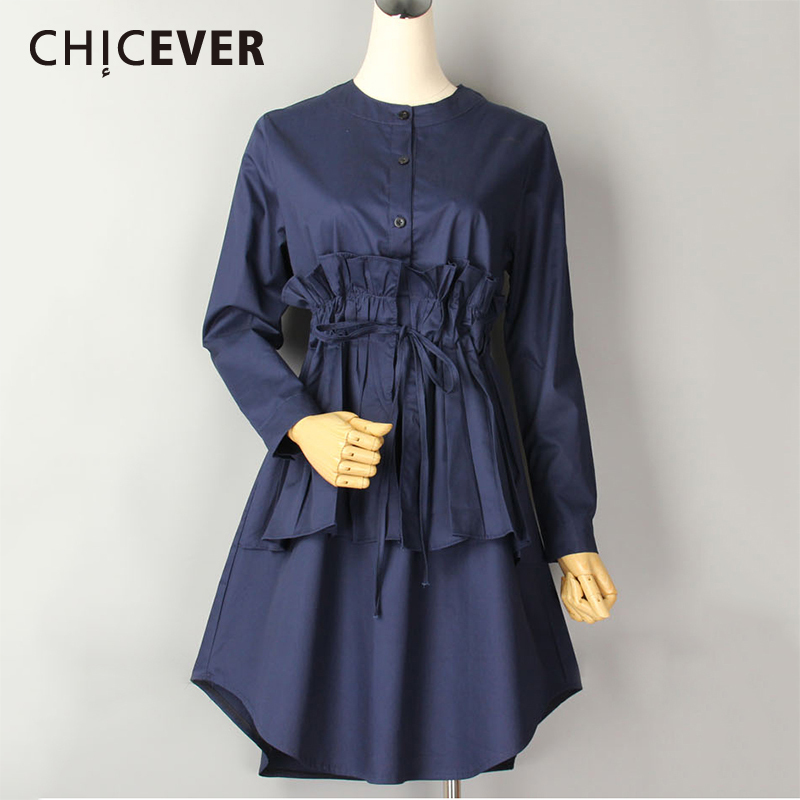 CHICEVER 2019 Spring Summer Women's Shirt Blouses Top Long Sleeve Slim Lace Up Plus Size Casual Women Shirts Clothes Fashion New