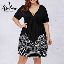 AZULINA Plus Size Low Cut Empire Waist A Line Dress Casual Black Plunging  Neck Short Sleeves 6f01e5056