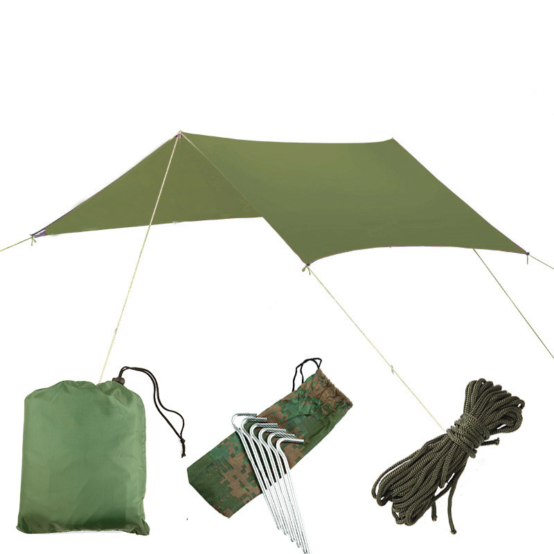 Silver Coating Waterproof Hammock Awning Canopy Tent Tarp Beach Camping Portable Pergola Sunshade OutdoorHammocks   -