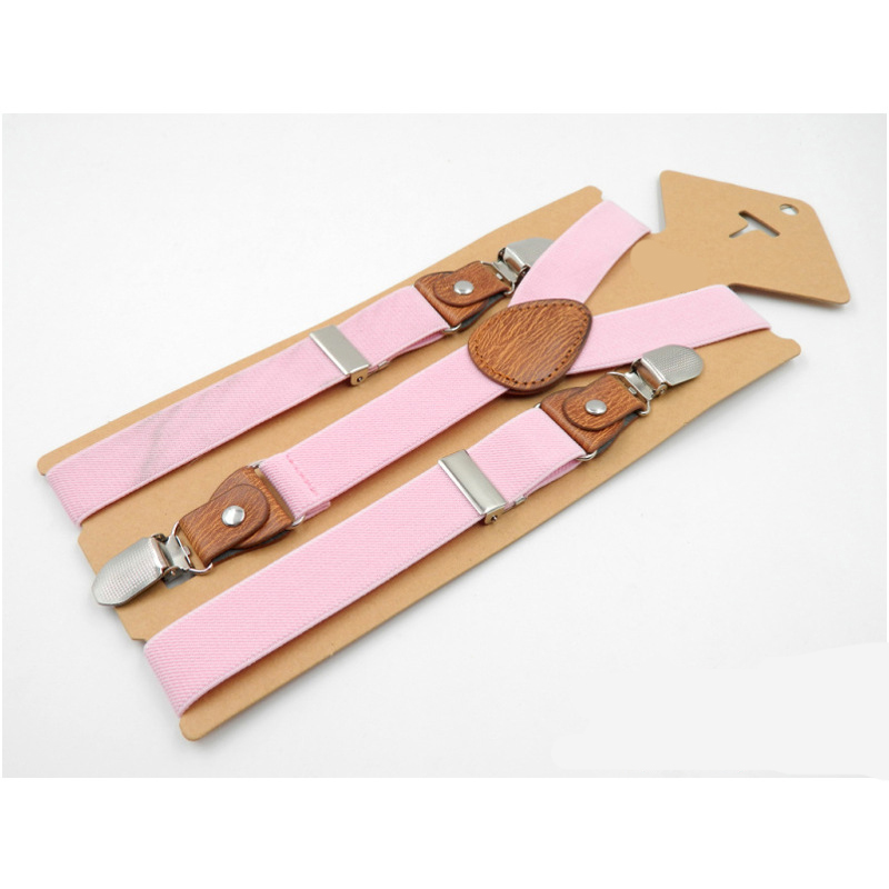 Children's 3 Clips Y-shaped Strap Clips Children's High-quality Men's And Women's High-quality Suspenders With Three Clips Brown