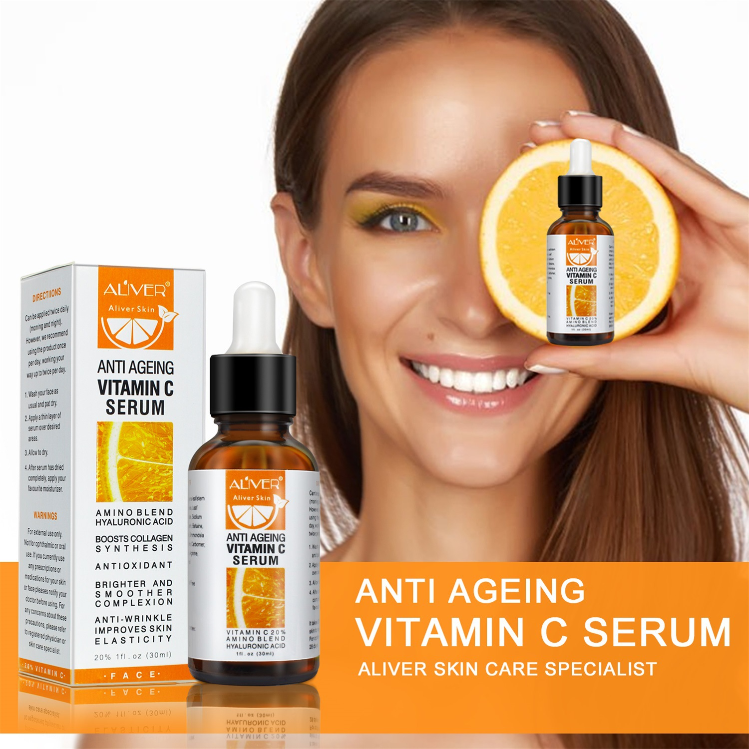 30ML Vitamin C Face Serum VC Remove Dark Spot Essence Oil Anti Ageing & Anti Wrinkle Whitening Face Eyes Neck Skin Care TSLM1